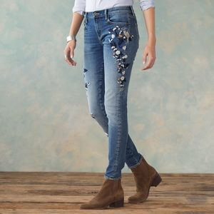 Driftwood Anthropologie embroidered floral jeans